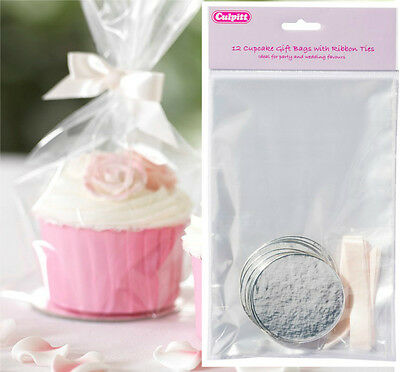12 CUPCAKE GIFT BAGS WITH RIBBON TIES & BOARDS-cake, Party Bags, Wedding Favours • 3.40£