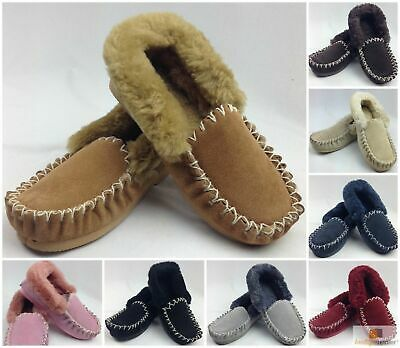 AU47.50 • Buy 100% Sheepskin Moccasins Slippers Winter Casual Genuine Slip On UGG Non-Slip