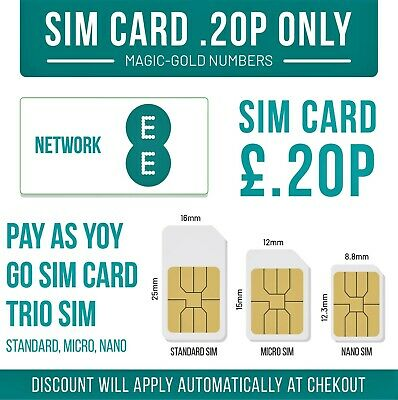 £0.99 • Buy Ee Sim Card - New - Only 20p Standard Micro Nano Get Unlimited Call Minutes Text