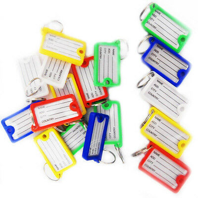 Key Tags ID FOB Tag Ring Plastic Name Label Holder Office Lock Luggage Assorted • 6.99£