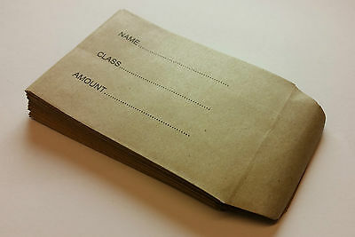 Childrens School Dinner Money Envelopes Small Brown Wages Petty Cash Kids • 1.40£