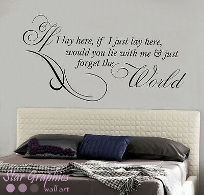 IF I LAY HERE SNOW PATROL Wall Art Sticker, Decal, MUSIC WORDS QUOTES MURAL • 15.99£