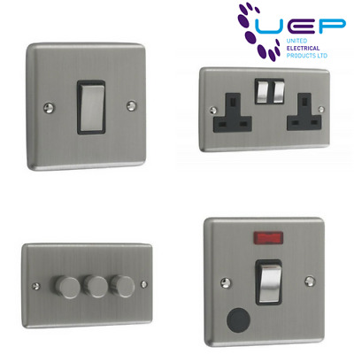 Brushed Chrome Sockets And Switches Black Trim (Windsor) • 7.99£