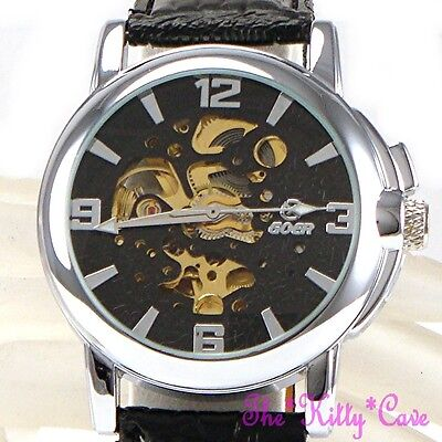 £34.99 • Buy Automatic Mechanical Skeleton Steampunk Silver Black Leather Wind-Up Wrist Watch