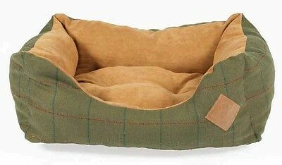Danish Design Tweed Snuggle Dog Beds Available In Green Or Brown • 51.99£