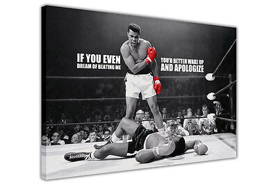 Canvas Prints Muhammad Ali Boxing Pictures Wall Art Photos Famous Quote Sports • 14.99£