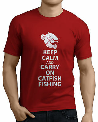 Keep Calm And Carry On Catfish Fishing Funny T-Shirts Rods, Reels, Bait, Line. • 9.99£