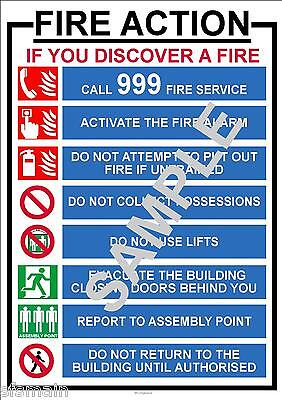 £8.99 • Buy Fire Instructions Health And  & Safety A3 Laminated Poster Workplace Shop Office