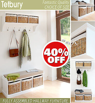 TETBURY White Storage Bench With Cushion,Hallway Hanging Shelf, FULLY ASSEMBLED • 274.99£