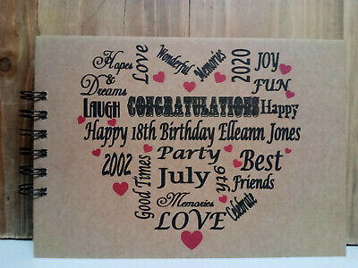 PERSONALISED BIRTHDAY 18th 21st 30th 40th 50th 60th Photo Album Guest Book Typo • 9.99£