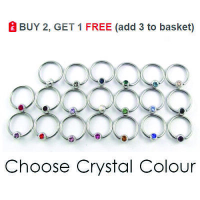 Ball Closure Ring BCR Captive Bead Hoop Surgical Steel Colour 3mm CRYSTAL Ball • 1.40£