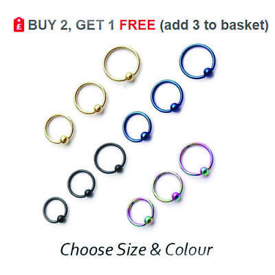 Ball Closure Ring Captive Bead BCR Nose Hoop Eyebrow Septum Helix Tragus 16G   • 1.25£