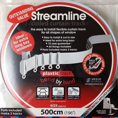 £17.99 • Buy 5m Bendable Curtain Track For Bay Or Straight Windows 5 Meter (500cm) PVC