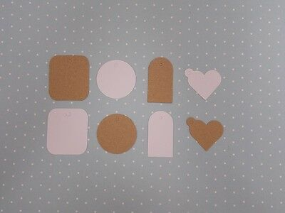 30 Small White/Kraft Card - Handmade Various Shapes - Gift Tags/Wedding Labels • 1.99£