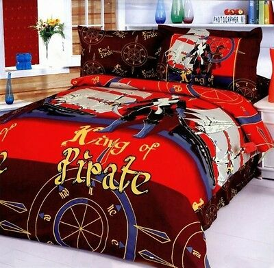 Twin Duvet Cover Set, 100% Cotton 4 Piece Pirates Theme, Fun Kids Bedding LE40T • 76.37£