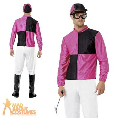 Adult Jockey Costume Horse Racing Mens Male Rider Fancy Dress Costume Outfit • 22.79£