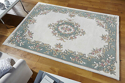 £259.99 • Buy Chinese Pastel Coloured Cream Green Aubusson Design Hand Tufted 100% Wool Rugs
