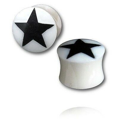 $5.80 • Buy PAIR OF INLAY STAR HORN 0g 8MM Plugs Body Jewelry UNIQUE GAUGES