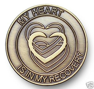 $5.99 • Buy Antique Bronze My Heart Is In My Recovery AA/NA 12 Step Program  Coin/Token/Chip
