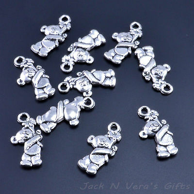 £1.89 • Buy TEDDY BEAR HOLDING FLOWER CHARMS    Antique Silver Colour Plated 10 Pcs