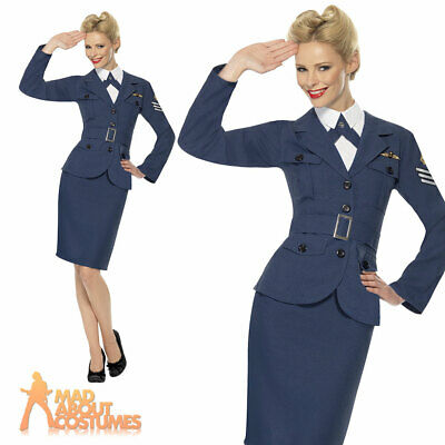 WW2 RAF Air Force Captain Costume Ladies Womens Wartime Fancy Dress Outfit • 23.49£