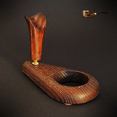 £12.99 • Buy HAND CARVED  WOODEN  STAND / RACK / HOLDER For 1 Tobacco Smoking Pipe   Brass