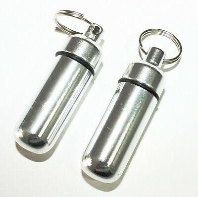 $5.39 • Buy 2pc Chrome Waterproof Aluminum Pill Bottle Cache Drug Holder Container Keychain