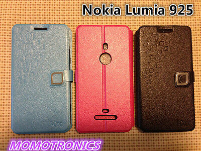 AU4.99 • Buy Nokia Lumia 925 Ultra Slim Patterned Wallet Flip Stand Cover Case Hot Pink