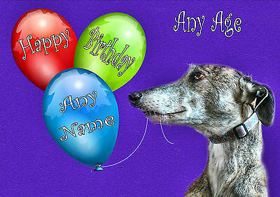 £4.75 • Buy PERSONALISED  BRINDLE GREYHOUND LURCHER WHIPPET BIRTHDAY CARD Illustrated Insert