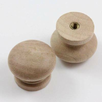 £3.50 • Buy Wooden Drawer Kitchen Cabinet Knob Handles With Insert/m4 Bolt 3 Sizes Natural