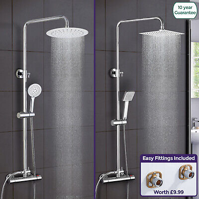 Rosa Exposed Thermostatic Shower Mixer Bathroom Twin Head Round Square Bar Set • 56.99£