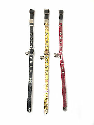 Cat Collar Faux Leather Safety Elasticated Adjustable Diamante Crystal Bling • 2.49£