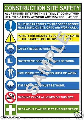 £7.99 • Buy Construction Building Site A3 Laminated Poster Health And & Safety Work Place