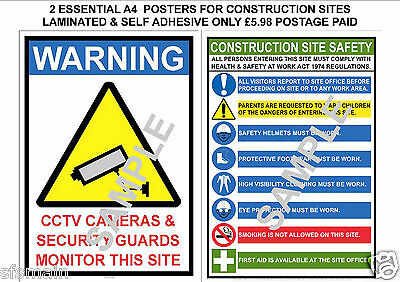 £5.98 • Buy Construction Site 2 Laminated A4 Posters Signs Health And Safety Cctv Security