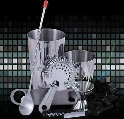 New Professional Bar Set 13 Piece Bartender Mixing Kit Cocktail Drinks Martini • 19.98$