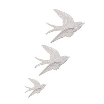 Retro 3 Flying Wall Swallows Ceramic Wall Art Plaques White Sass & Belle • 12.99£