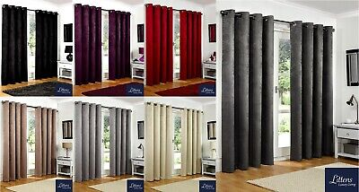 Luxury Soft Heavy Embossed Thermal Blackout Eyelet Ring Top Lined Pair Curtains • 18.36£