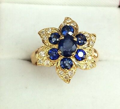 $697.25 • Buy 18K Solid Gold Cluster Flower Ring, Natural Sapphire1.8CT &Diamond 0.40CT, Sz7.5
