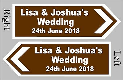 £9.99 • Buy PERSONALISED Wedding Direction Sign Choice Of Size And Colour - Event Road Sign