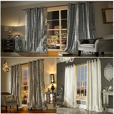 ILIANA Luxury Eyelet Lined Curtains, Velvet / Ring Top Velour Curtains • 54.99£
