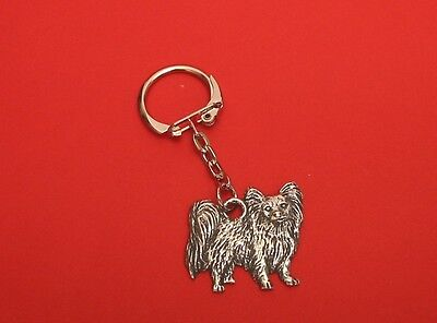 £5.99 • Buy Papillon Dog Pewter Key Ring Useful Gift Dad Mother Christmas Papillon Gift NEW