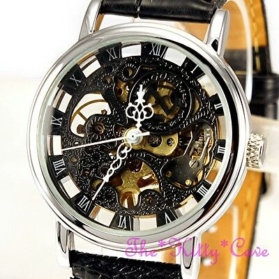 £32.99 • Buy Silver Mechanical See-Thru Skeleton Steampunk Black Leather Wind-Up Unisex Watch