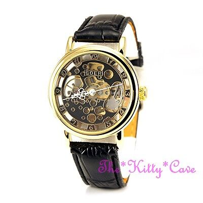 £32.99 • Buy Classic Gold Heritage Steampunk Skeleton Black Leather Mechanical Wind-Up Watch