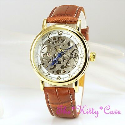 £32.99 • Buy Gold Plated Mechanical Hollow Skeleton Steampunk Unisex Tan Leather Windup Watch
