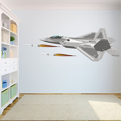 $25.99 • Buy F-22 With Missiles Removable Wall Decals Stickers Vinyl Kids Room Decor Military