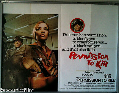 Cinema Poster: PERMISSION TO KILL 1975 (QUAD) Dirk Bogarde Ava Gardner • 34.95£