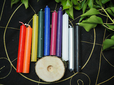 10 Coloured Wiccan Spell Candle Set With/out Wooden Candle Holder - Witchcraft • 6.30£