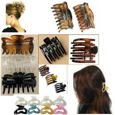 £6.95 • Buy 3 Hair Claw Clip Clamp LARGE Butterfly Grip Bulldog Up Updo Styling Section Hold