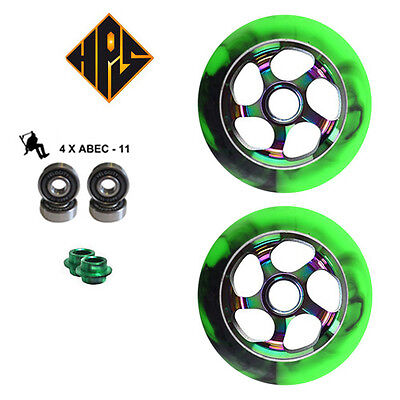 £29.99 • Buy 2 PRO STUNT SCOOTER NEO CHROME GREEN METAL CORE WHEELS 110mm 88A ABEC 11 BEARING