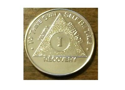 $11.50 • Buy Steps To Recovery 10 Year Gold Plate AA Medallions AA Sobriety Chips AA Coins